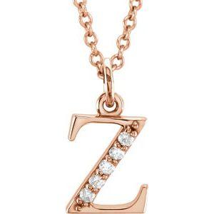 "14K Rose .025 CTW Diamond Lowercase Initial z 16"" Necklace"