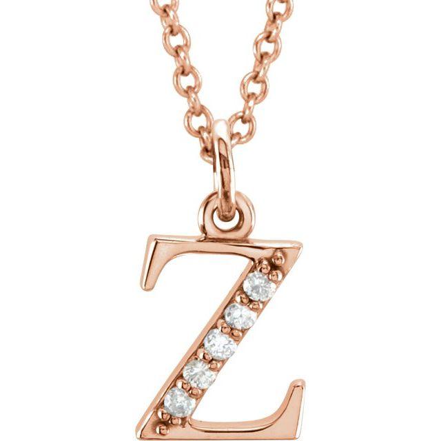 14K Rose .025 CTW Diamond Lowercase Initial z 16