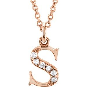 """14K Rose .03 CTW Diamond Lowercase Initial s 16"""" Necklace"""