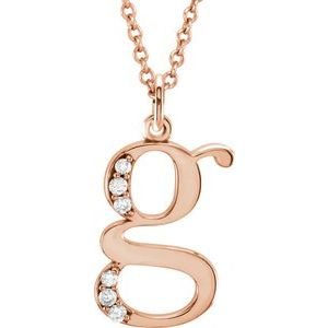 "14K Rose .03 CTW Diamond Lowercase Initial g 16"" Necklace"
