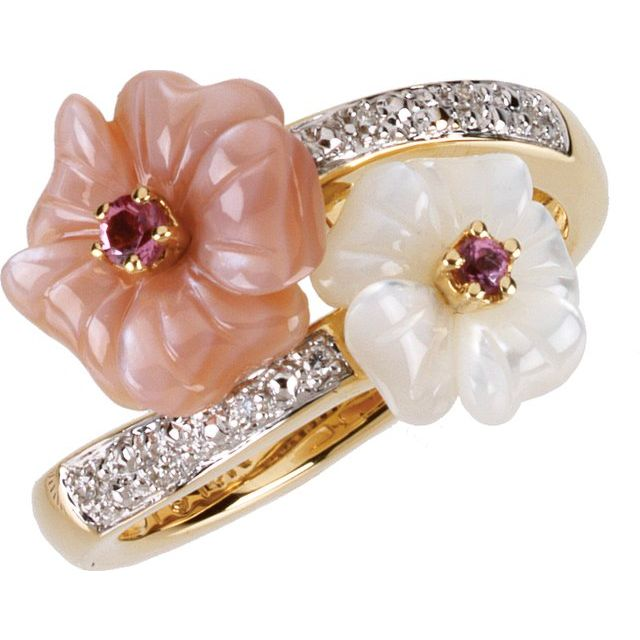 14K Yellow Pink Tourmaline, Mother Of Pearl & .04 CTW Diamond Ring