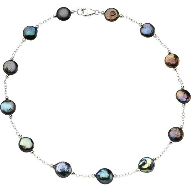 Sterling Silver Freshwater Cultured Black Coin Pearl 18