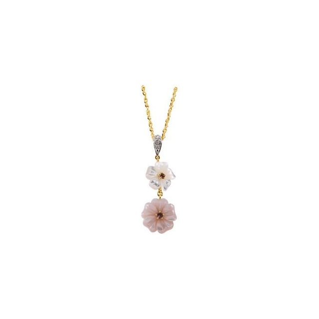 14K Yellow Pink Tourmaline, Mother of Pearl & .005 CTW Diamond Flower 18