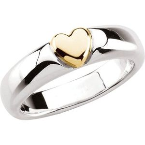 Sterling Silver & 14K Yellow Heart Ring