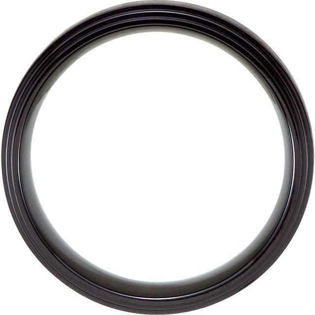 Black Titanium 8 mm Double Ridged Band Size 10.5