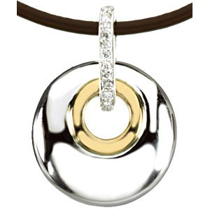 "Sterling Silver & 14K Yellow .07 CTW Diamond Circle 18"" Necklace"