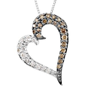 "14K White 1/4 CTW Diamond Heart 18"" Necklace"