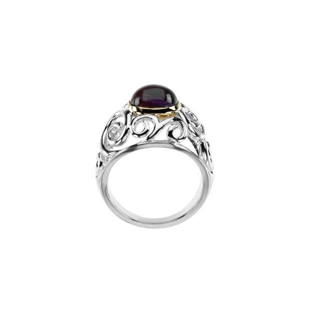 Sterling Silver & 14K Yellow Amethyst Scroll Design Ring