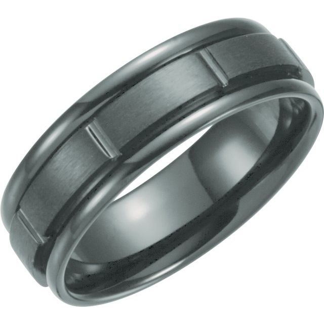 Black Titanium 7 mm Grooved Band Size 8
