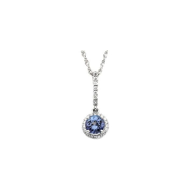 14K White Tanzanite & 1/5 CTW Diamond Pendant