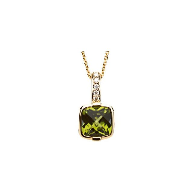 14K Yellow Checkerboard Peridot & .05 CTW Diamond 18