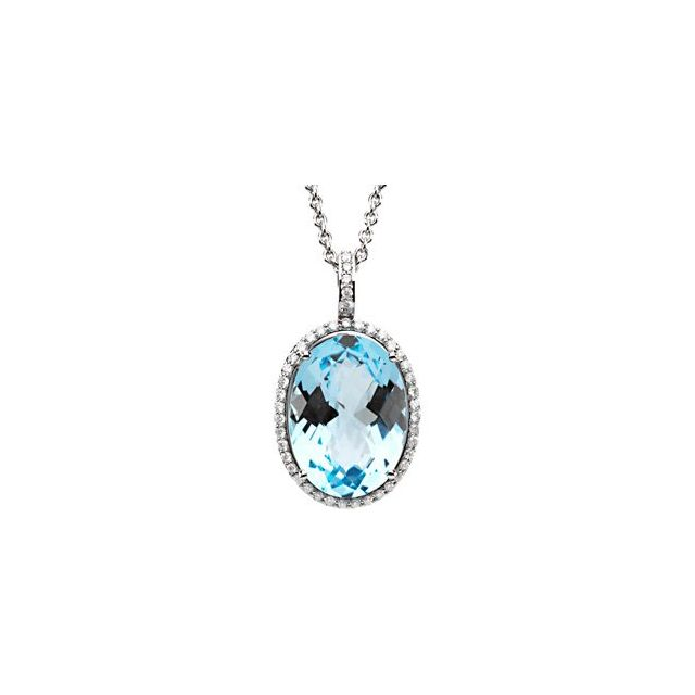 14K White Sky Blue Topaz &3/8 CTW Diamond Halo-Style 18