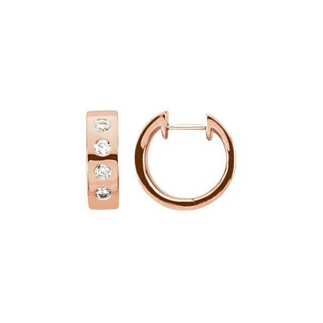 14K Rose 1/3 CTW Diamond Bezel-Set Hoop Earrings