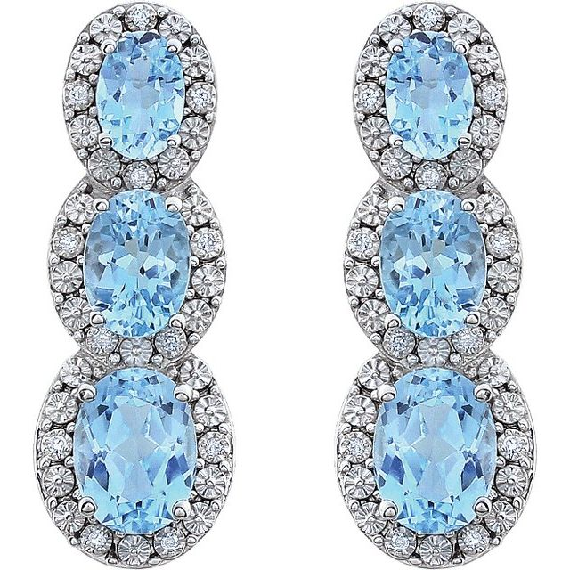 14K White Sky Blue Topaz & .07 CTW Diamond 3-Stone Earrings