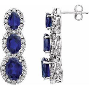 14K White Created Blue Sapphire & .07 CTW Diamond 3-Stone Earrings