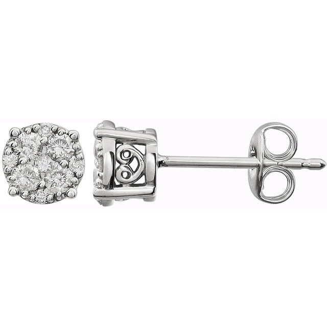 14K White 3/8 CTW Diamond Cluster Friction Post Earrings