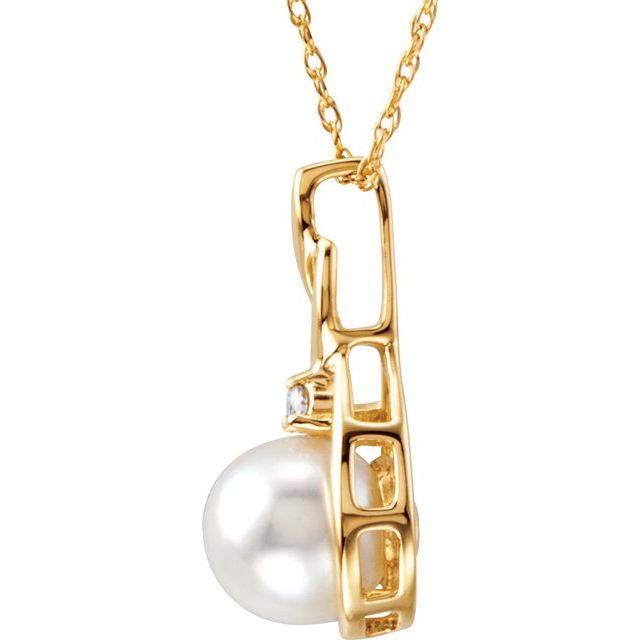 14K Yellow Akoya Cultured Pearl & .03 CTW Diamond 18