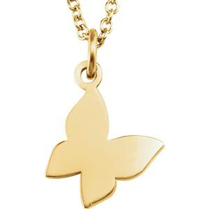 """14K Yellow Tiny Posh® Butterfly 16-18"""" Necklace"""