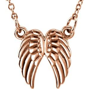 "14K Rose Tiny Posh® Angel Wings 16-18"" Necklace"