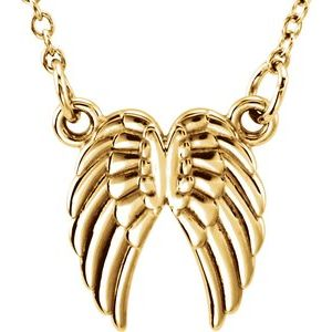 "14K Yellow Tiny Posh® Angel Wings 16-18"" Necklace"