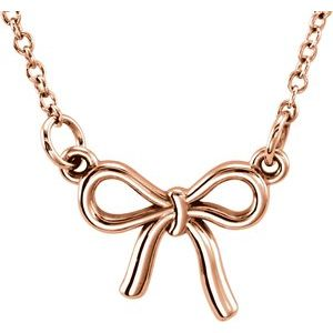 """14K Rose Tiny Posh® Knotted Bow 16-18"""" Necklace"""