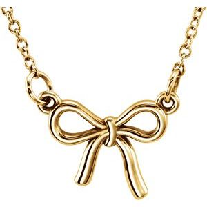 """18K Yellow Vermeil Tiny Posh® Knotted Bow 16-18"""" Necklace"""