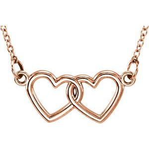"14K Rose Tiny Posh® Double Heart 16-18"" Necklace"