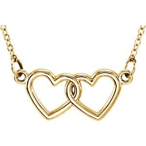 "14K Yellow Tiny Posh® Double Heart 16-18"" Necklace"
