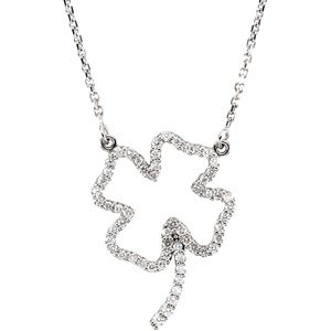 "14K White 1/4 CTW Diamond Clover 16"" Necklace"
