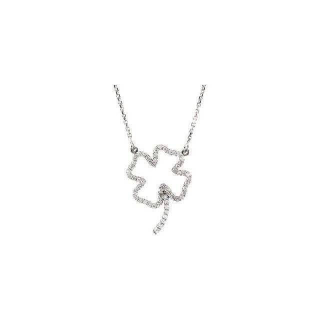 14K White 1/4 CTW Diamond Clover 16