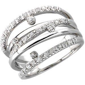 14K White 1/3 CTW Diamond Right Hand Ring