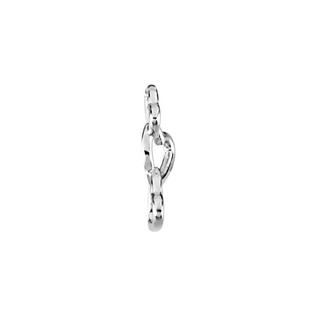 14K White 24.5x13 mm Linked Hearts Pendant