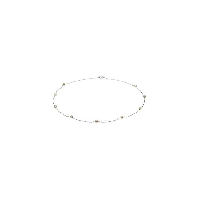 14K White Freshwater Cultured Pearl Station 18