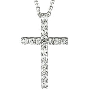 "14K White 1/4 CTW Petite Diamond Cross 18"" Necklace"