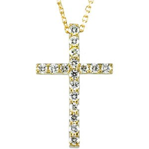 "14K Yellow 1/3 CTW Petite Diamond Cross 18"" Necklace"