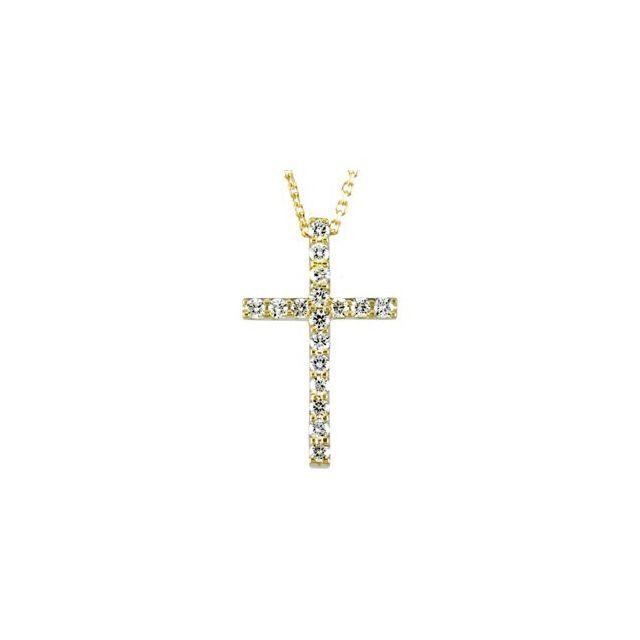 14K Yellow 1/6 CTW Petite Diamond Cross 18