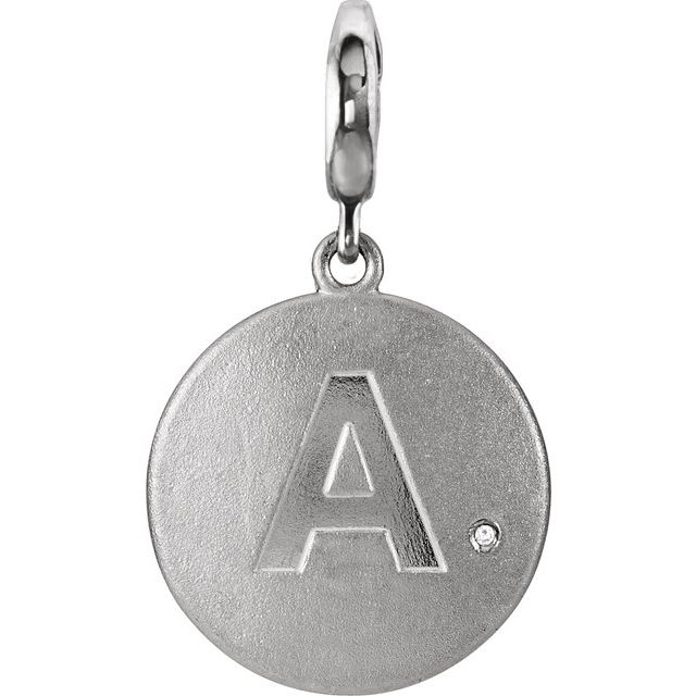 Sterling Silver Initial A Disc Charm Mounting for 1 mm Round
