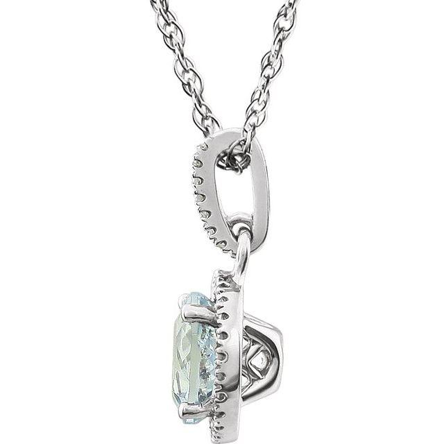 14K White Natural Aquamarine & 1/10 CTW Natural Diamond 18