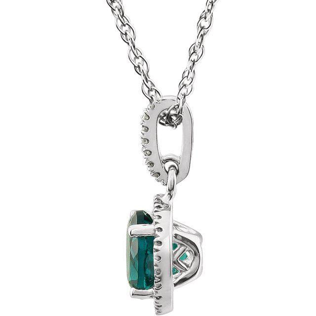 14K White Lab-Grown Emerald & 1/10 CTW Natural Diamond 18