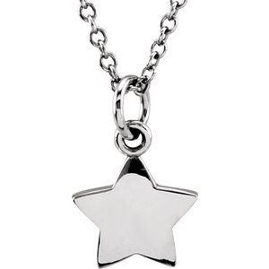 "Sterling Silver Tiny Posh® Star 16-18"" Necklace"