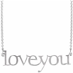 """14K White Love You 16 1/2"""" Necklace"""