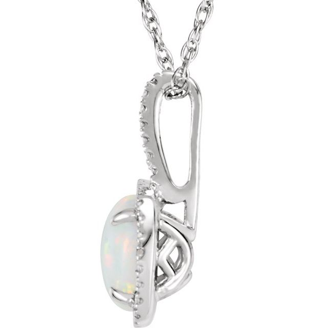 Sterling Silver 7 mm Created Opal & .015 CTW Diamond 18