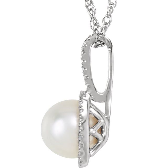 Sterling Silver 6.5-7 mm Freshwater Cultured Pearl & .015 CTW Diamond 18