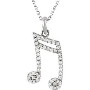 "14K White 1/5 CTW Diamond Double Sixteenth Note 16"" Necklace"