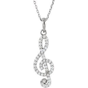 "14K White 1/4CTW Diamond Petite Treble Clef 16"" Necklace"