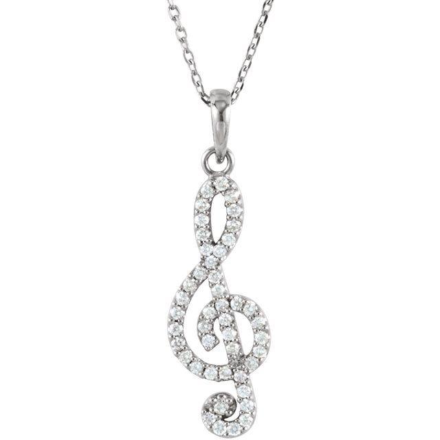 14K White 1/4CTW Diamond Petite Treble Clef 16