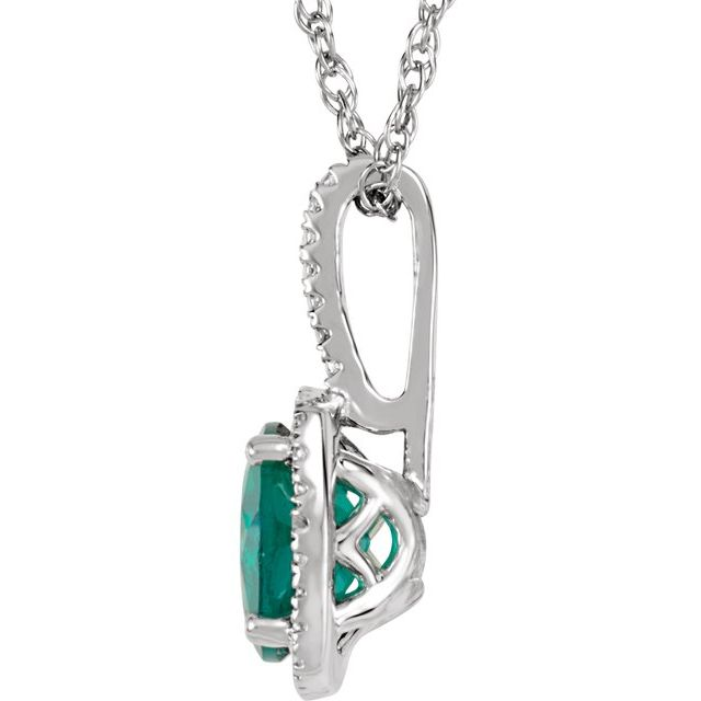 Sterling Silver 7 mm Lab-Grown Emerald & .015 CTW Natural Diamond 18
