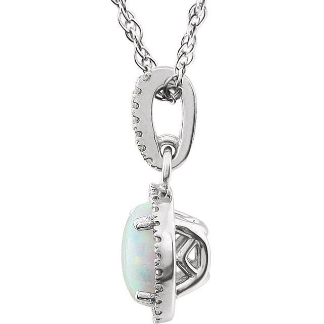 14K White Created Opal & 1/10 CTW Diamond 18