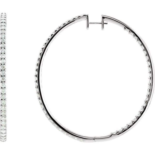 14K White 5 CTW Diamond Inside-Outside 51 mm Hoop Earrings