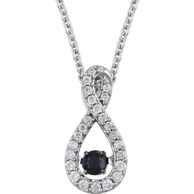 14K White Blue Sapphire & 1/6 CTW Diamond 18